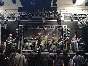 Haken (band) - Haken live in Bologna in 2017.   Left to right: Charles Griffiths, Diego Tejeida, Ross Jennings, Ray Hearne, Conner Green, and Richard Henshall.