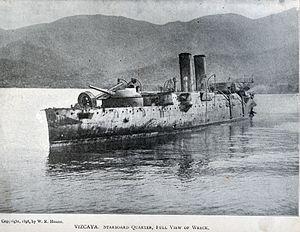 Spanish cruiser Vizcaya - The wreck of Vizcaya after the Battle of Santiago de Cuba.