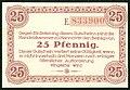 Handelskammer Hannover Gutschein über 25 Pfennig 1. Dezember 1919 Unterschrift Beindorf Wolfeel von Roon J. C. König & Ebhard. Rückseite Serie E 833900.jpg