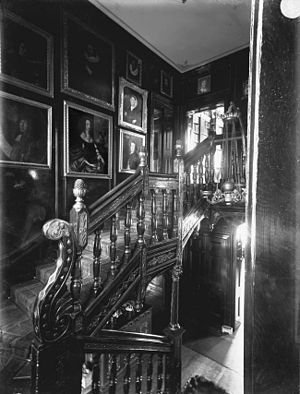Hardwick House, Suffolk - Interior of Elizabethan Hardwick House, showing staircase. Circa 1900
