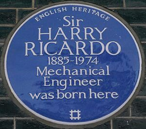 Harry Ricardo - Blue plaque, 13 Bedford Square, London
