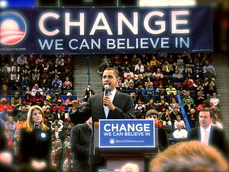 Barack Obama presidential primary campaign, 2008 - Barack Obama at a rally in Hartford, CT on February 4, 2008. Seated behind him are Caroline Kennedy, Congresswoman Rosa Delauro (D-CT) and Congressman Chris Murphy (D-CT).