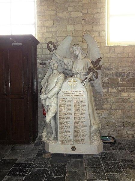 Haspres (Nord, Fr) église, monument aux morts à l'intérieur