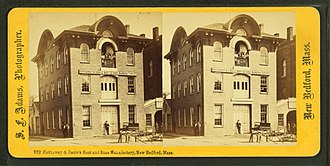 Timeline of New Bedford, Massachusetts - Image: Hathaway & Soule Boot & Shoe manufactory, New Bedford, Mass, by Adams, S. F., 1844 1876