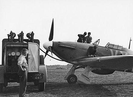 No. 85 Hurricane, by Squadron Leader Peter Townsend at RAF Castle Camps, July 1940. Hawker Hurricane at Castle Camps - RAF Fighter Command 1940 HU104490.jpg