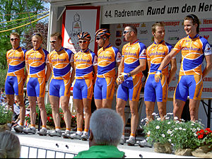 Team LottoNL–Jumbo - The Rabobank team during the 2005 Rund um den Henninger Turm race