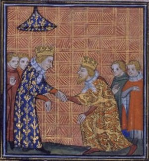 Mise of Amiens - Henry III doing homage to Louis IX of France. As Duke of Aquitaine, Henry was a vassal of the French king.
