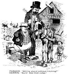 "A black-and-white cartoon drawing.  A short, fat man labeled ""Parker"" and a tall, thin man labeled ""Herrin"" are in a farmyard, whose barn is labeled ""Republican Stables"".  The two are looking at a horse with a human face and an enormous collar.  The horse is labeled ""Gillett"".  The caption reads, ""Parker: 'Will he stand without hitching?'; Herrin: 'Sure! See that collar?'"""
