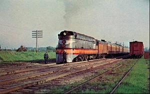 Milwaukee Road class A - Image: Hiawatha streamlined steam locomotive 1951