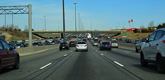 Ontario Highway 401 - Highway 401 at Weston Road has volumes of over 500,000 vehicles per day during the summer months, making it the busiest stretch of highway in the world.