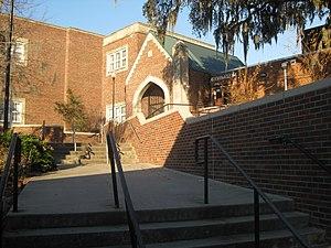 Hillsborough High School (Tampa, Florida) - West (rear) entry to Hillsborough High School, next to the gymnasium.