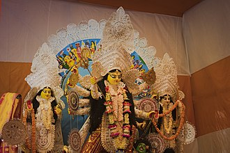 Durga Puja - This is an idol of Durga Goddess also known as Parvati. Hindus worship idols and this is one of it which is hugely celebrated among the Hindus. This photo was captured at Ram Krishna Ashram Rishra at the third day of the four-day celebration.