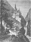 Ritt unter einer Zollernburg (Hirschberg?) Holzstich zur Hirschguldensage von Wilhelm Hauff