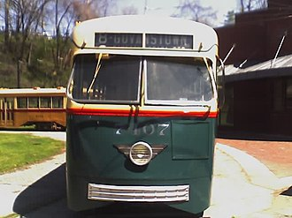 CityLink Red (MTA Maryland) - A former no. 8 streetcar, the predecessor to bus Route 8, at the Baltimore Streetcar Museum. This vehicle is currently used to give rides to visitors.