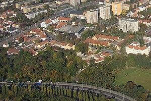 Hloubětín - View of Hloubětín centered on St. George's church