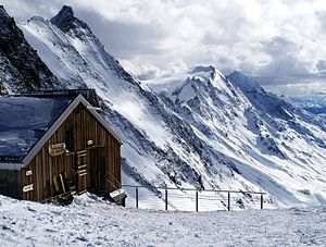 Hollandia Hut - The Hollandia Hut with the Lötschental in background