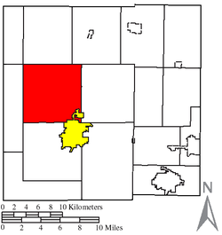Location of Holmes Township (red) in Crawford County, next to the city of Bucyrus (yellow)