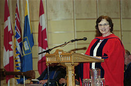 Honorary degree recipient Anne Treisman speaking at Congregation ceremony 2004.jpg