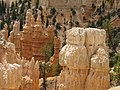 Hoodoos known as 'Frankenstein' (right) and 'Red rooster' (center),Bryce Canyon National Park.JPG