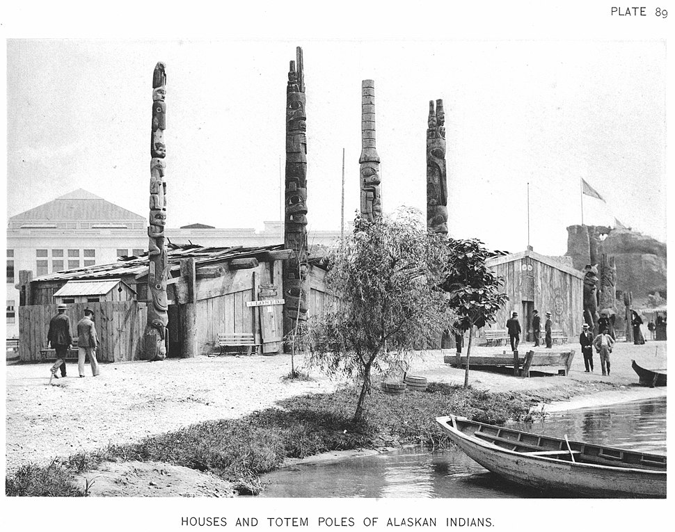 Houses And Totem Poles Of Alaskan Indians %E2%80%94 Official Views Of The World%27s Columbian Exposition %E2%80%94 89