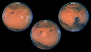 "Human mission to Mars - Three views of planet Mars, the ""red planet"""
