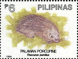 Philippine porcupine - Image: Hystrix pumila 1994 stamp of the Philippines