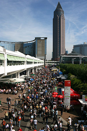International Motor Show Germany - The Frankfurt Trade Fair during the 2007 Frankfurt Motor Show with the Messeturm in the background