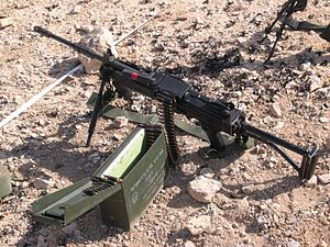 IWI Negev - A IDF NEGEV fed from an ammo box in a shooting range.