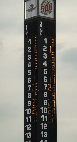 2008 Indianapolis 500 - Scoring pylon at the close of pole day qualifications.