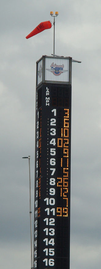 Indianapolis 500 traditions - Scoring pylon at the close of pole day qualifications in 2009.
