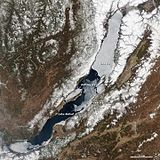 Satellite photo of ice on lake during spring melt