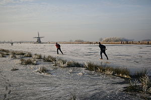 Ice skating in Friesland with mill.jpg