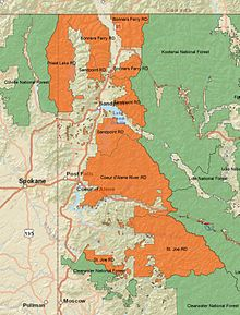 An overview map of Idaho Panhandle National Forest with ranger districts and surrounding forests labelled