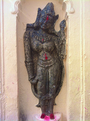 Kamakhya Temple - Older stone sculptures embedded in walls of the Natamandira, constructed during the Ahom rule.
