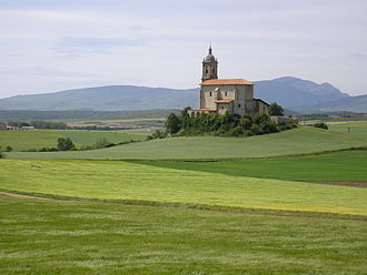 Arroyabe - The Church of Arroyabe as seen from Mendívil