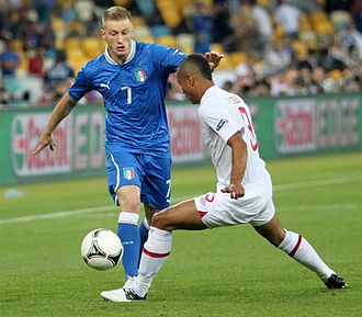 Ignazio Abate - Abate (left) in action for Italy against England in the quarter-final of UEFA Euro 2012