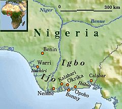 Map showing Ijaw (Ijo) area in Nigeria