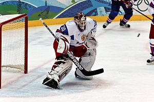 Russia goaltender Ilya Bryzgalov makes a save ...