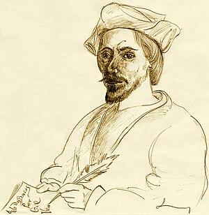 Gil Vicente - Image: Imagem 158 Gil Vicente, escrevendo. Sepia