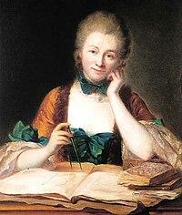 Inconnu, portrait de madame Du Châtelet à sa table de travail, détail (château de Breteuil) -001.jpg