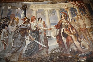 Sigismund Goetze - The mural commemorating the creation of the League of Nations. Britannia greets America, flanked by Italy and France. Emblematic figures from other nations watch.