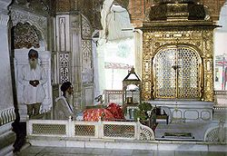 The interior of the Akal Takht.