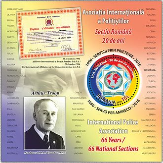 International Police Association - A 2016 stamp sheet of Romania dedicated to the 66th anniversary of IPA and to Arthur Troop