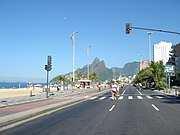 Ipanema Beach, in the South Zone, as featured in the song The Girl from Ipanema by Antonio Carlos Jobim and Vinicius de Moraes.