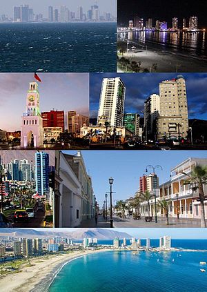 Iquique - Top:View of downtown Iquique, 2nd left:Baquedano Square, 2nd right:Iquique Municipal Theater, Bottom:Cavancha Beach