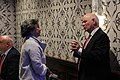 Isabel Santos speaks with Ben Cardin, Washington, 4 Nov. 2018 (45679092372).jpg