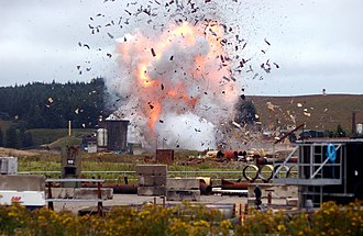 A photograph of the explosion, moments after detonation Itv gunpowder plot mike slee.jpg