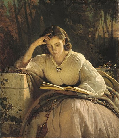 414px-Ivan_Kramskoy_-_Reading_woman_(portrait_of_artist's_wife).jpg (414×480)