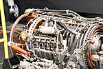 JMSDF US-1A T64-IHI-10E turboprop engine(cutaway model) compressor section left rear view at MCAS Iwakuni May 5, 2019.jpg