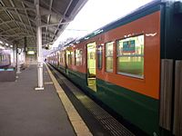 JNR 113 Shonan livery Kusatsu Line local at Tsuge Station 20121230.jpg